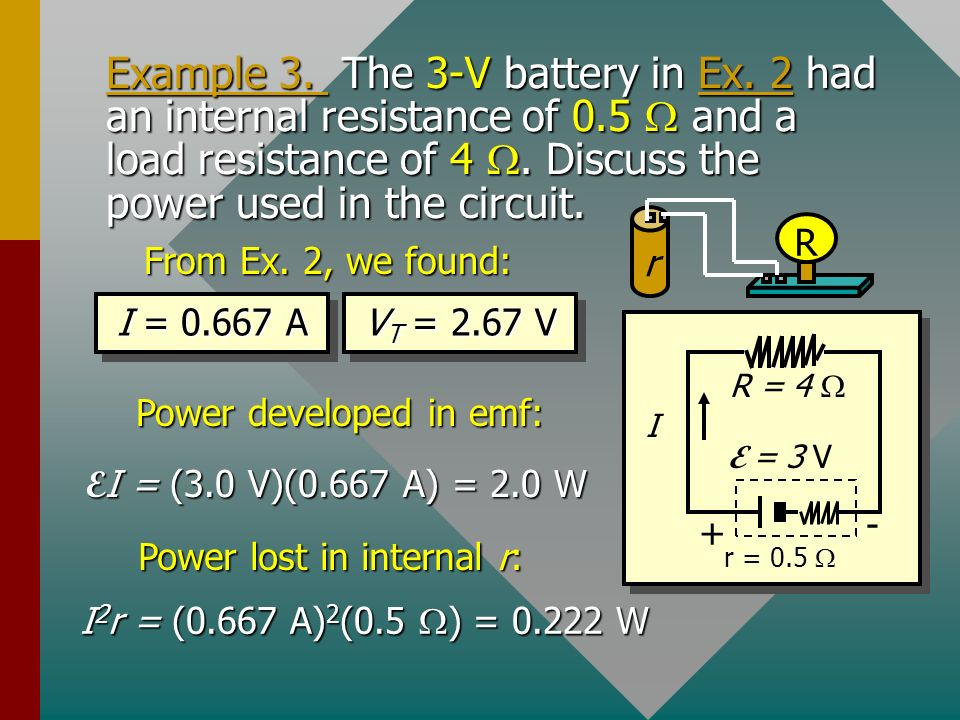 Example 3. The 3-V battery in Ex. 2 had an internal resistance of 0