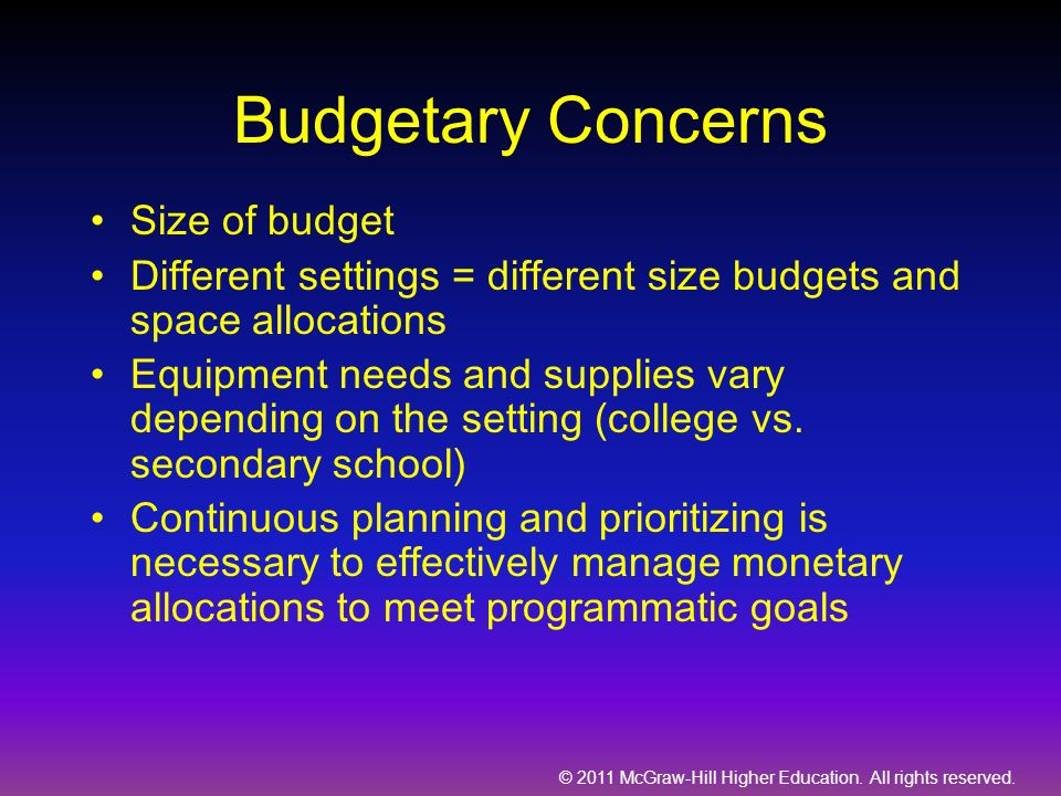 Budgetary Concerns Size of budget