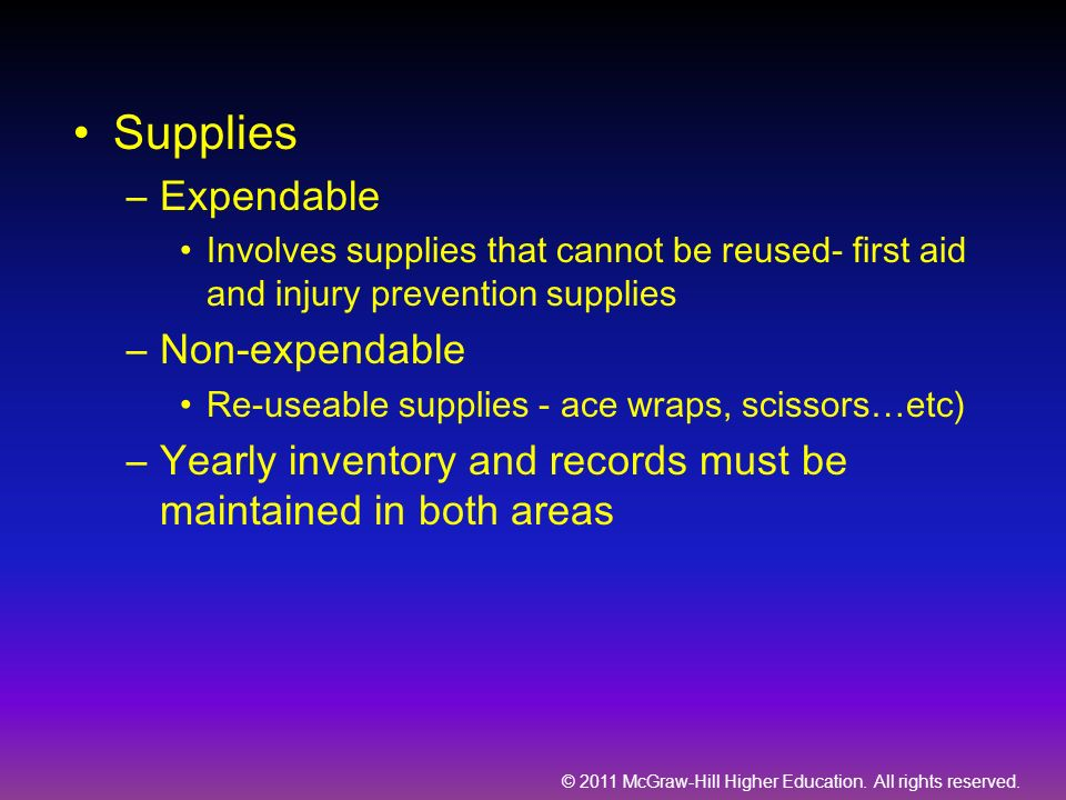 Supplies Expendable Non-expendable