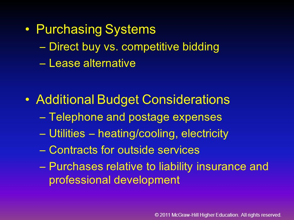 Additional Budget Considerations