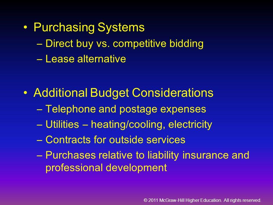Additional Budget Considerations