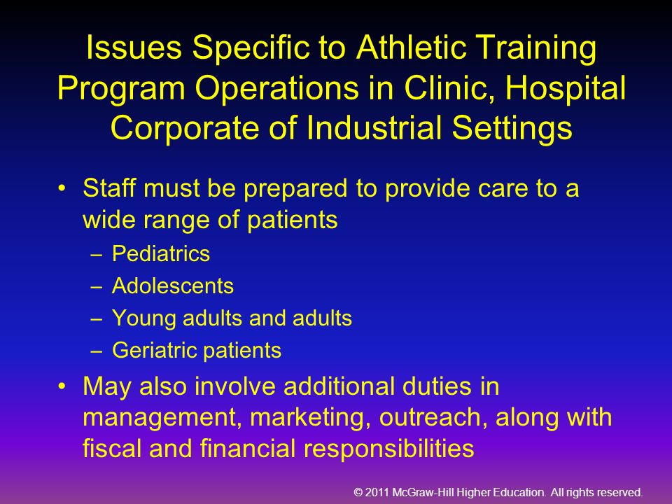 Issues Specific to Athletic Training Program Operations in Clinic, Hospital Corporate of Industrial Settings