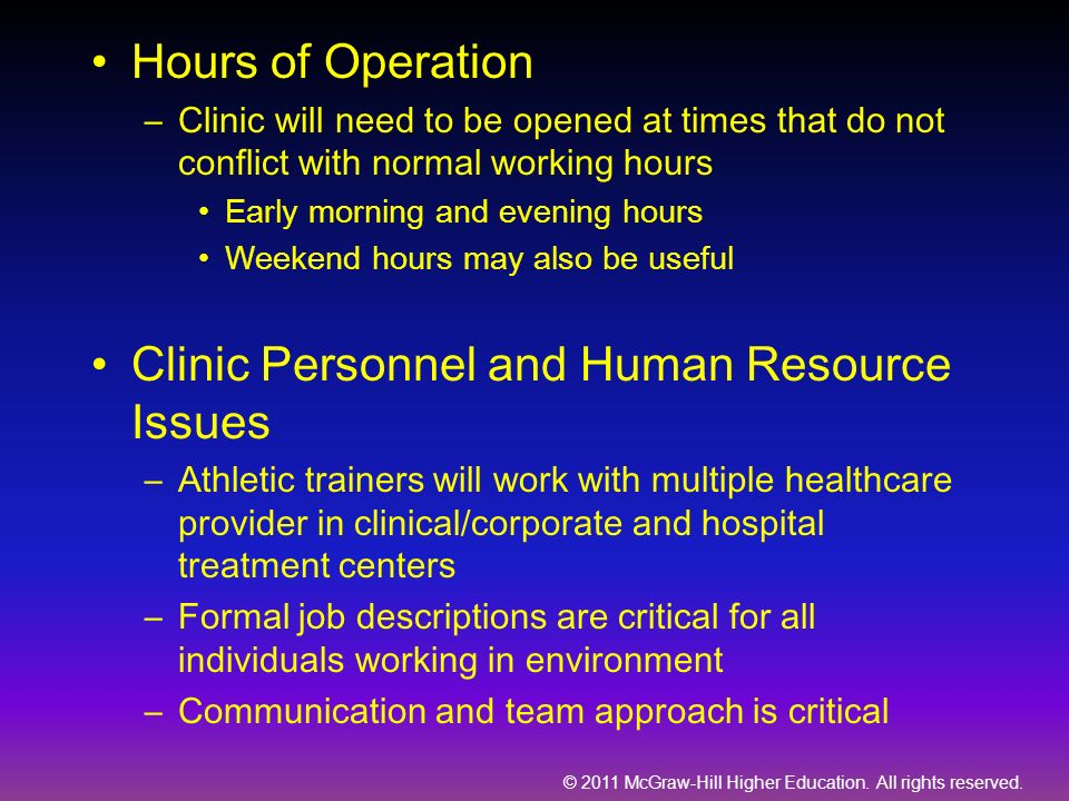 Clinic Personnel and Human Resource Issues