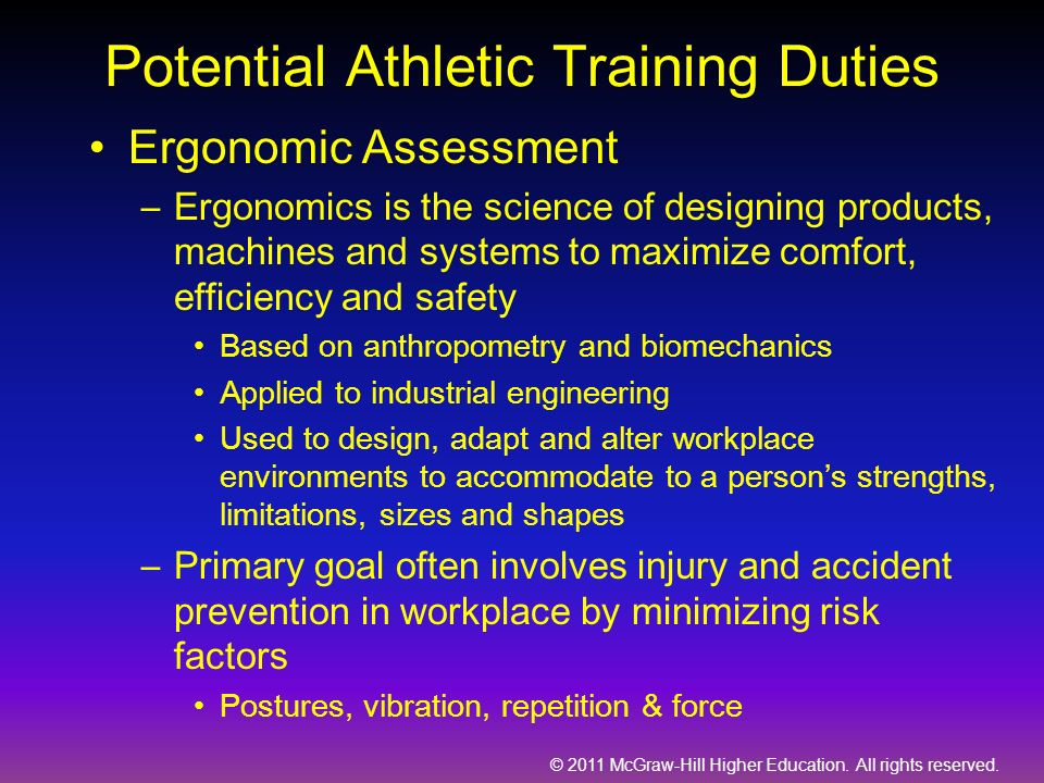 Potential Athletic Training Duties