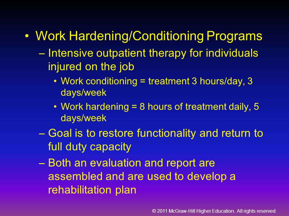 Work Hardening/Conditioning Programs