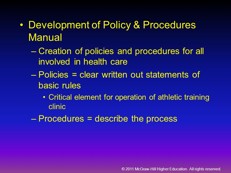 Development of Policy & Procedures Manual