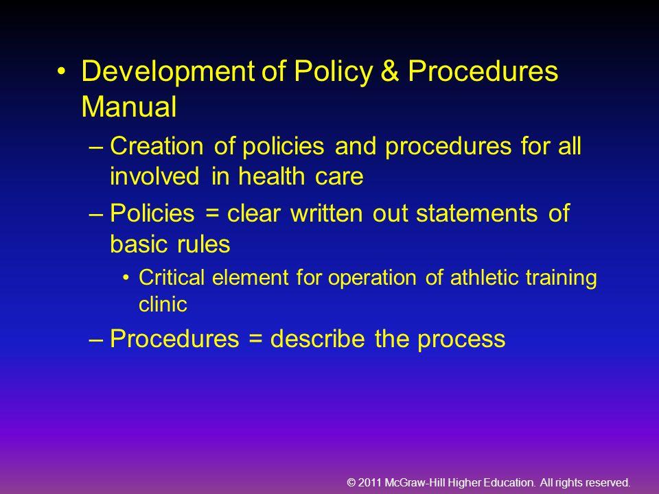 Development of Policy & Procedures Manual