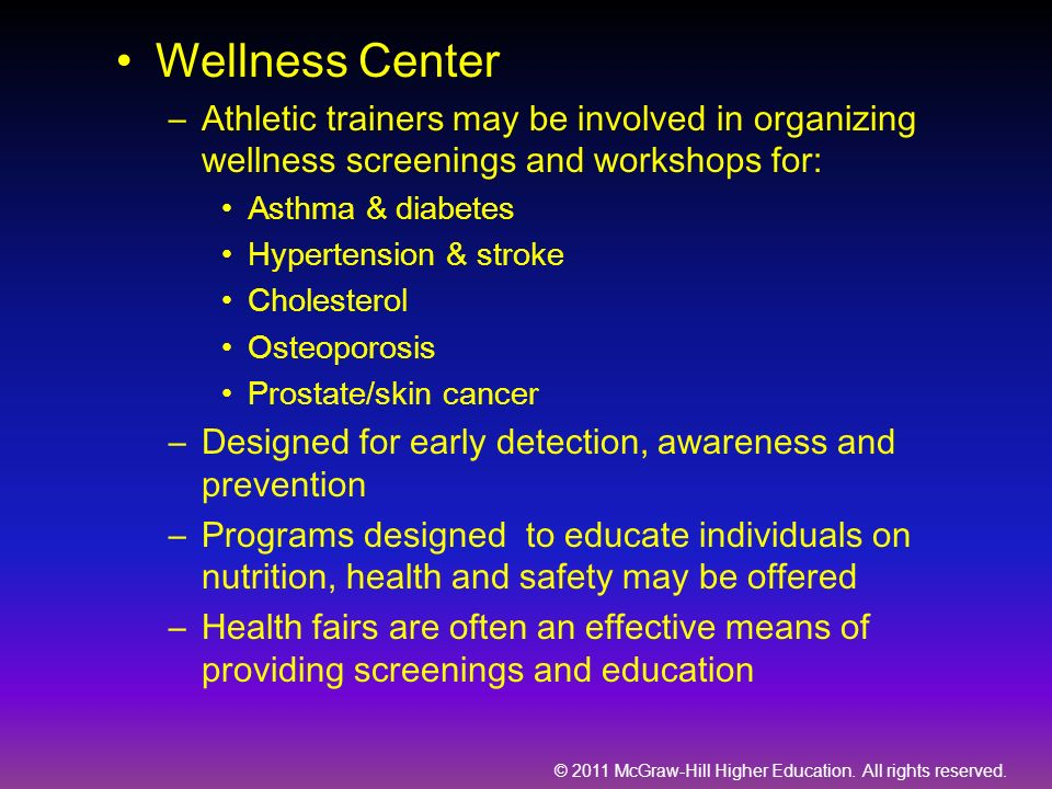 Wellness Center Athletic trainers may be involved in organizing wellness screenings and workshops for: