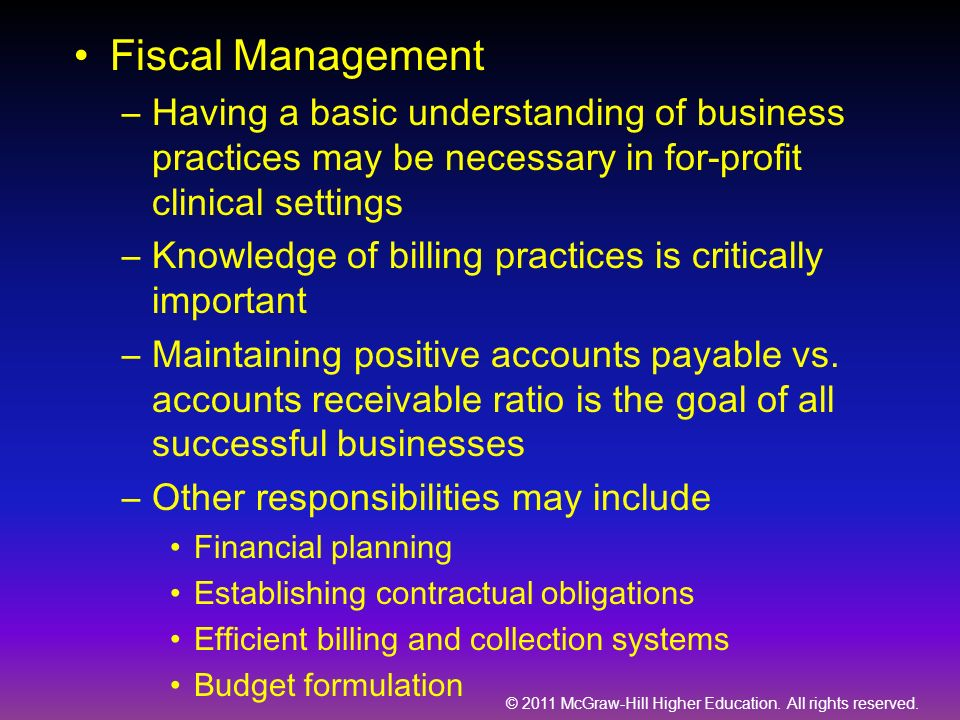 Fiscal Management Having a basic understanding of business practices may be necessary in for-profit clinical settings.