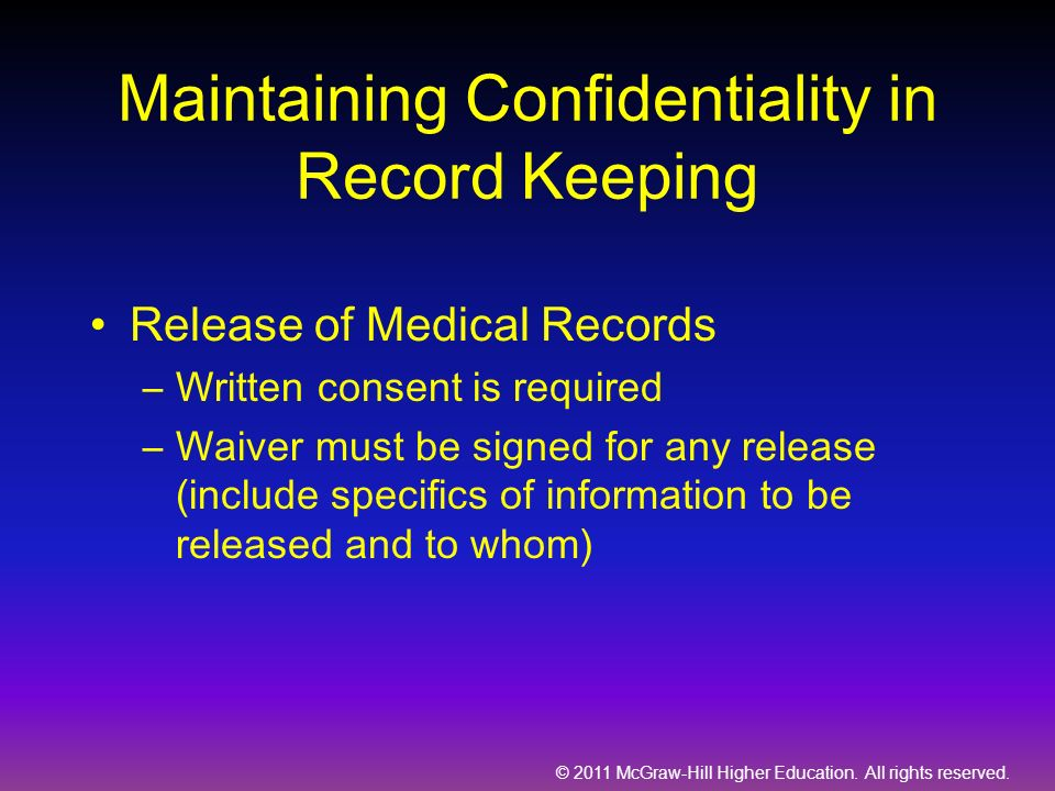 Maintaining Confidentiality in Record Keeping
