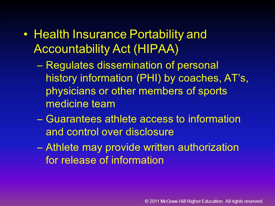 Health Insurance Portability and Accountability Act (HIPAA)