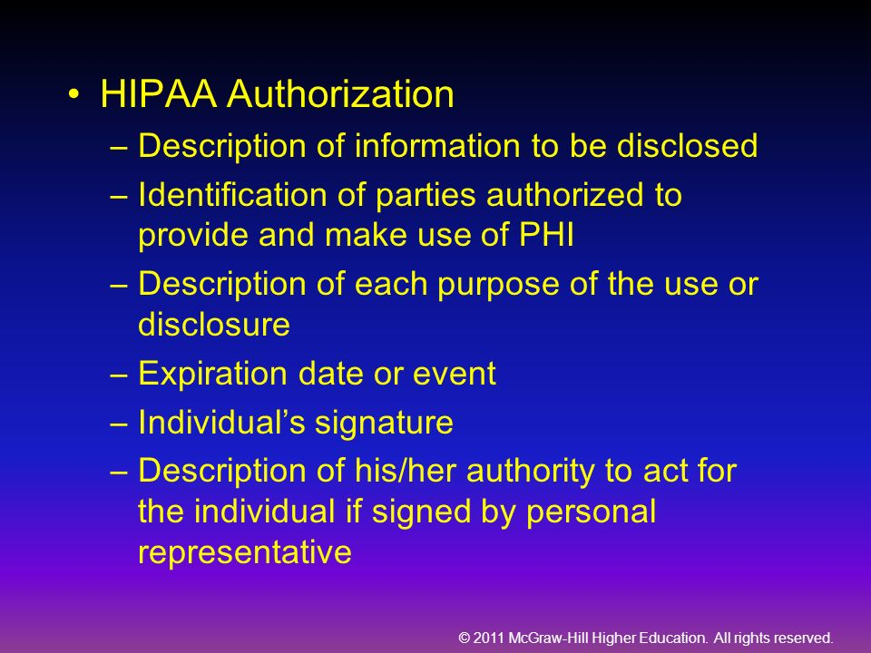 HIPAA Authorization Description of information to be disclosed