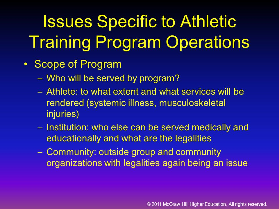 Issues Specific to Athletic Training Program Operations