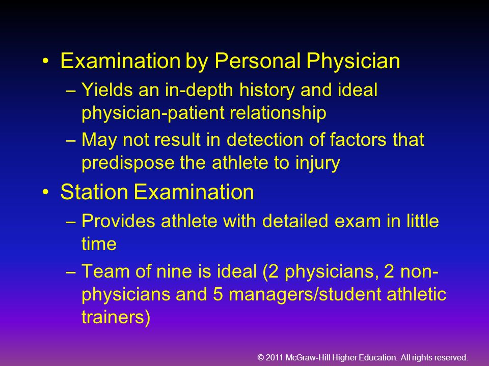 Examination by Personal Physician