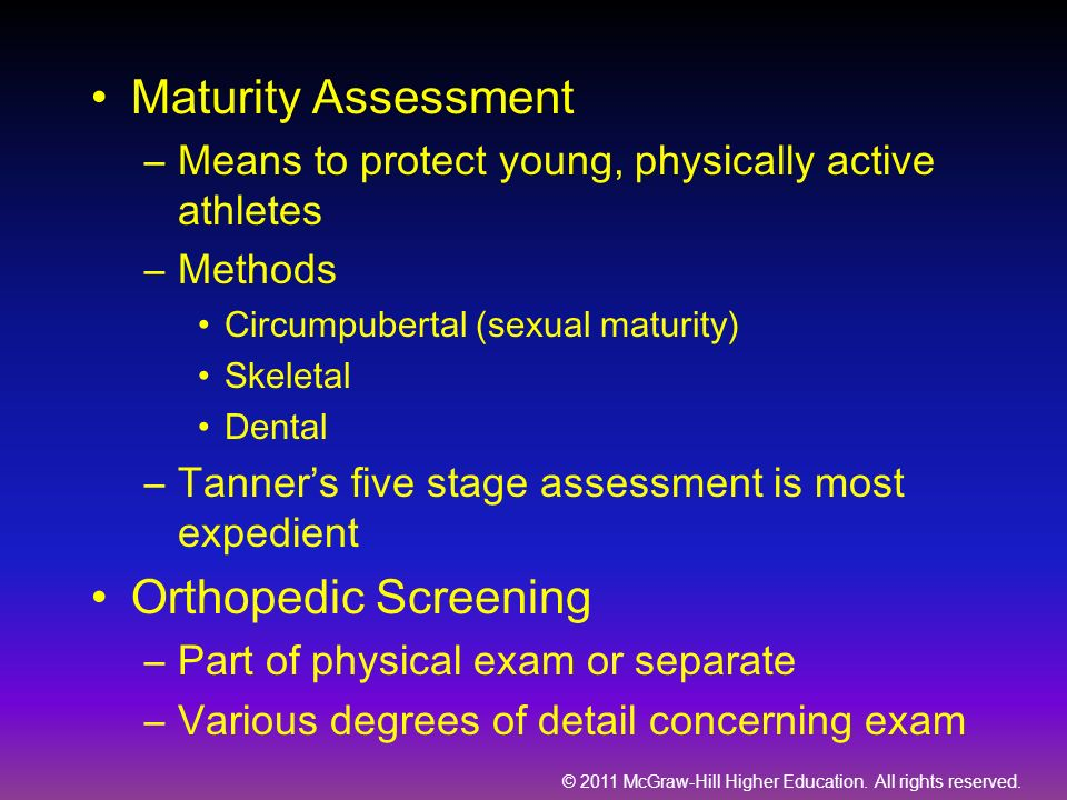Maturity Assessment Orthopedic Screening