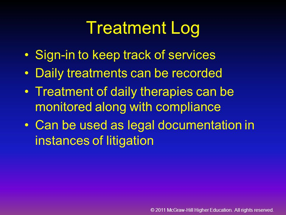 Treatment Log Sign-in to keep track of services