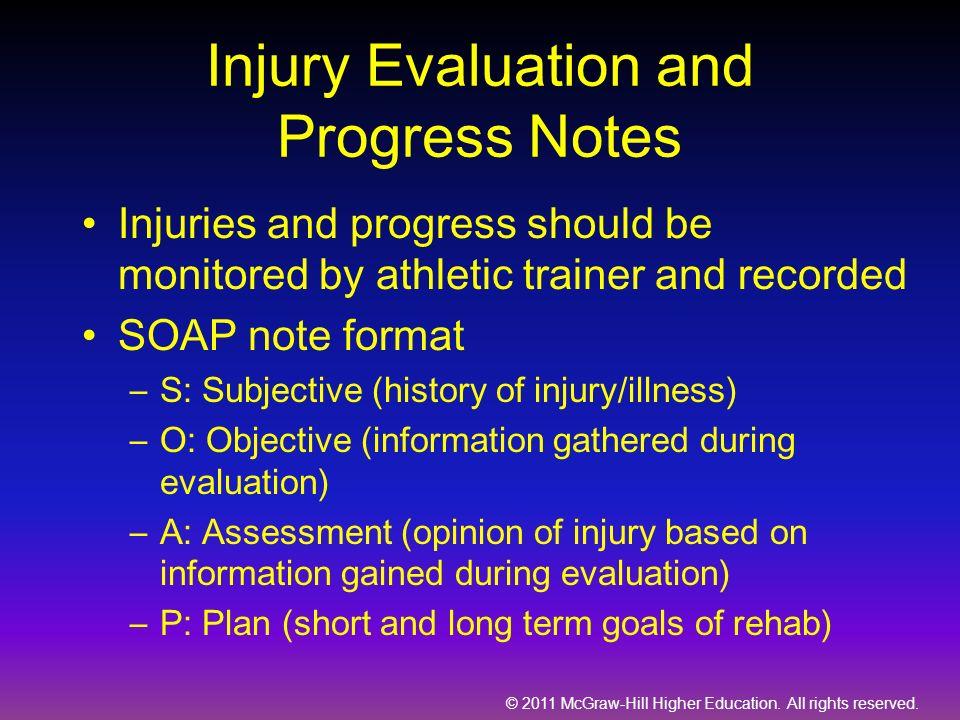Injury Evaluation and Progress Notes