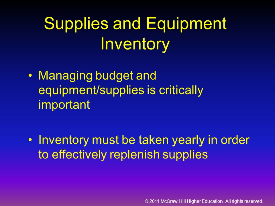Supplies and Equipment Inventory