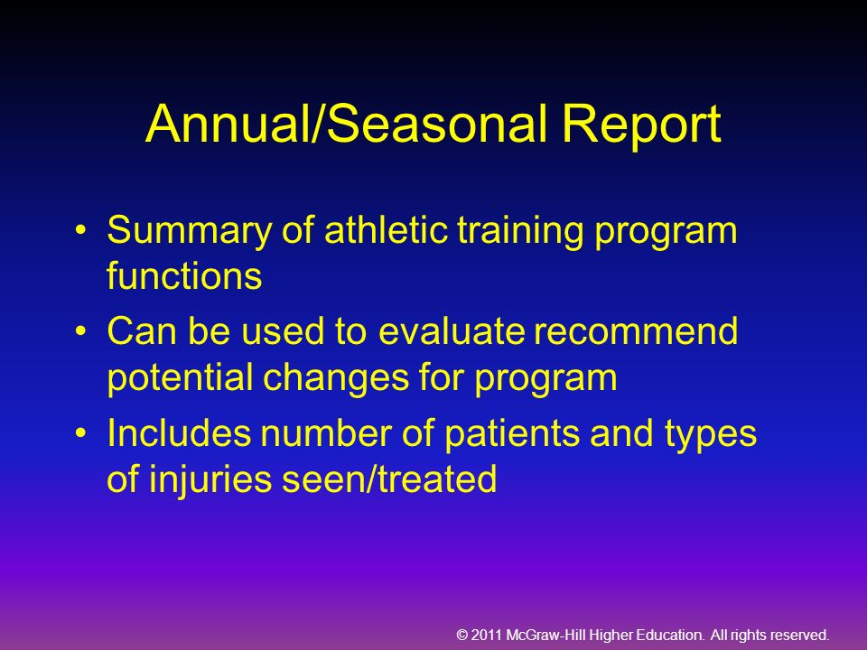 Annual/Seasonal Report