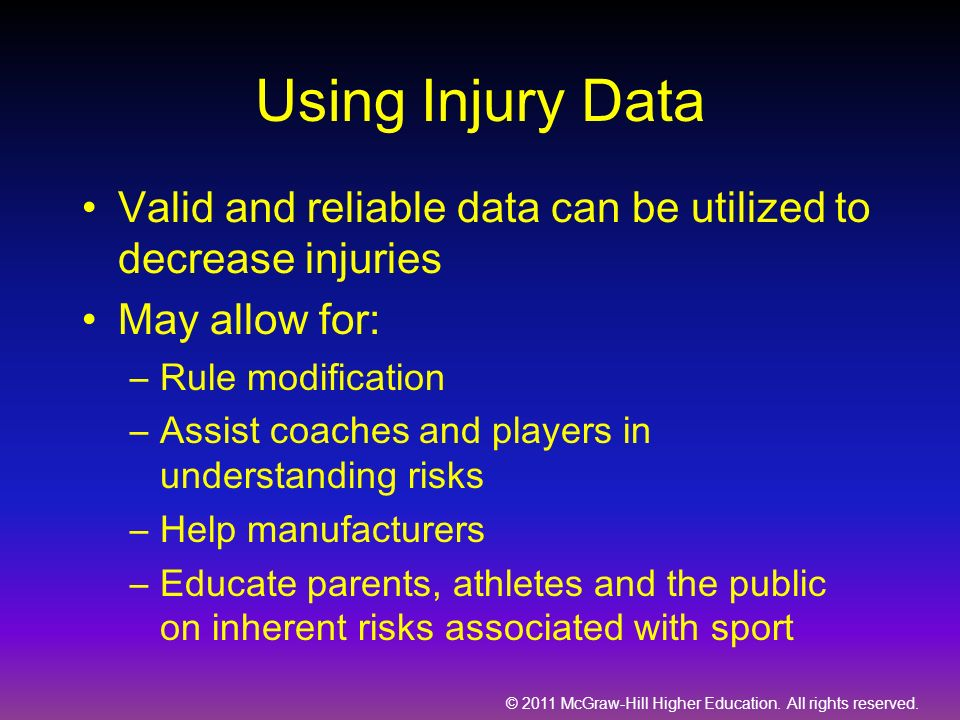 Using Injury Data Valid and reliable data can be utilized to decrease injuries. May allow for: Rule modification.