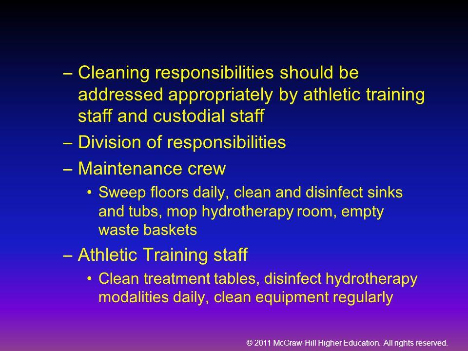 Division of responsibilities Maintenance crew