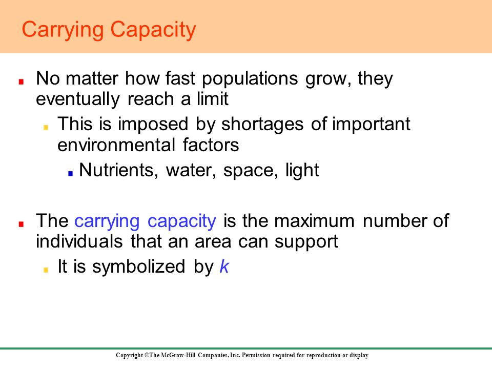 Carrying Capacity No matter how fast populations grow, they eventually reach a limit.