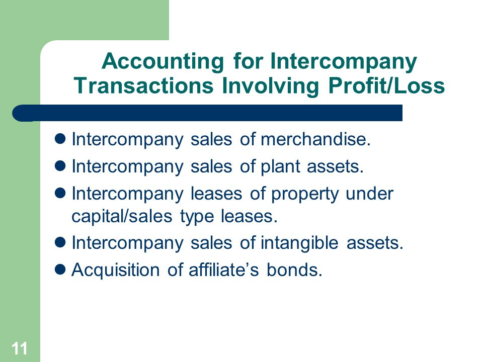 Accounting for Intercompany Transactions Involving Profit/Loss