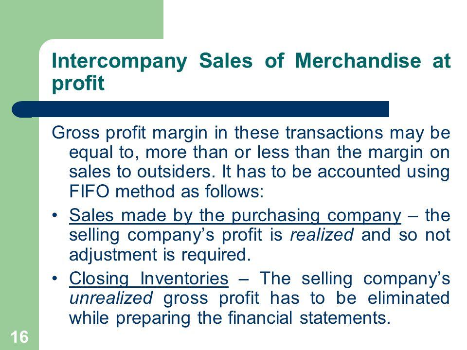 Intercompany Sales of Merchandise at profit
