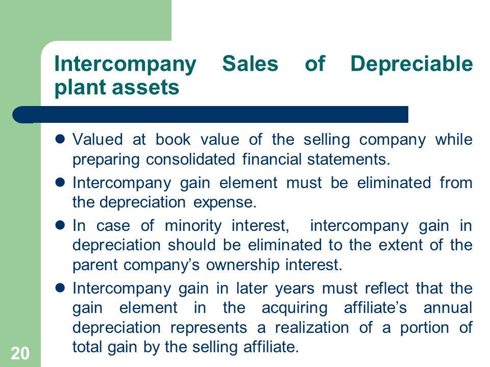Intercompany Sales of Depreciable plant assets