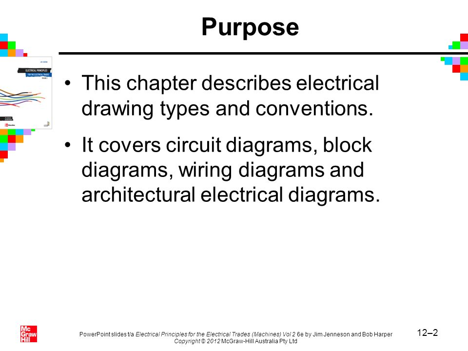 Purpose This chapter describes electrical drawing types and conventions.