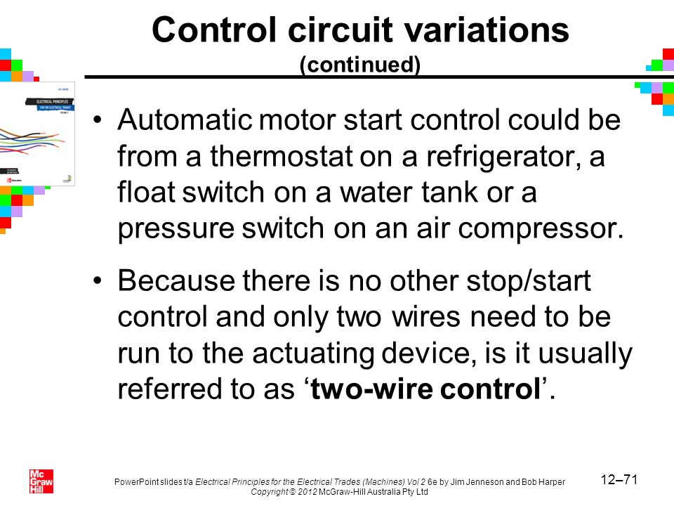 Control circuit variations (continued)