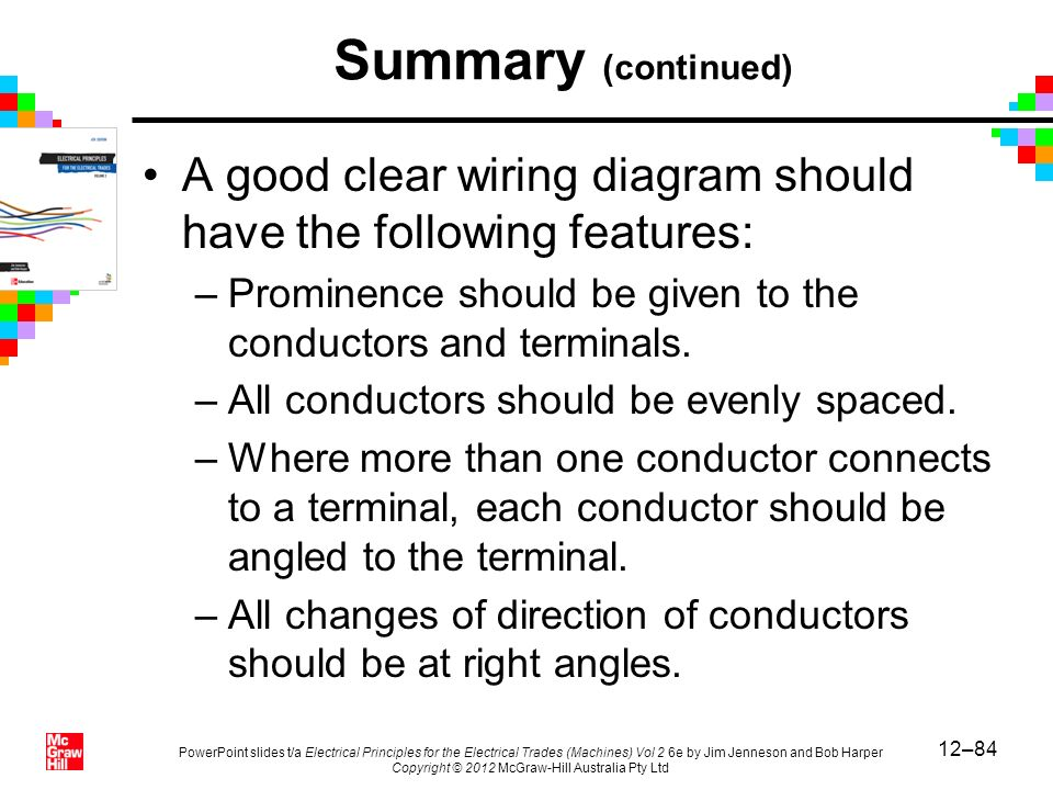Summary (continued) A good clear wiring diagram should have the following features: Prominence should be given to the conductors and terminals.