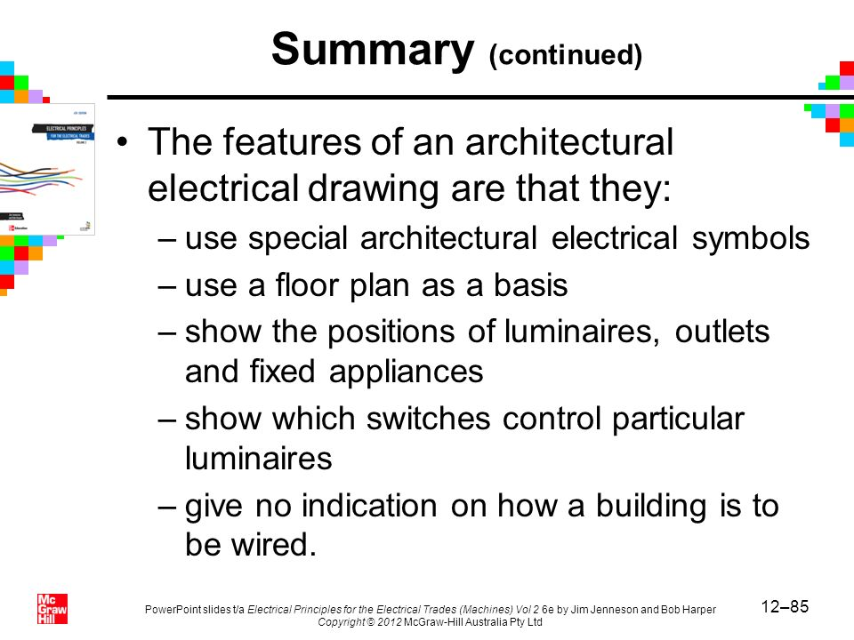 Summary (continued) The features of an architectural electrical drawing are that they: use special architectural electrical symbols.