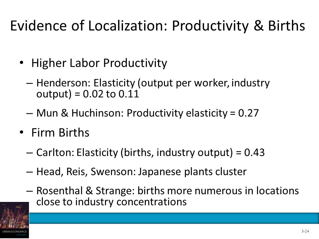 Evidence of Localization: Productivity & Births