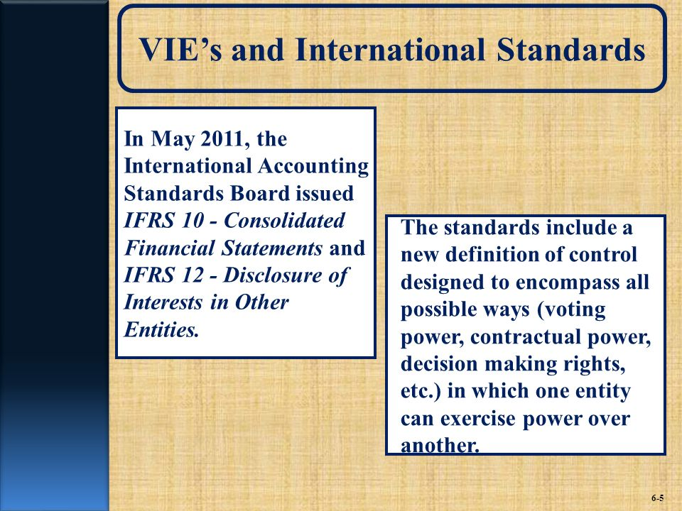 VIE's and International Standards