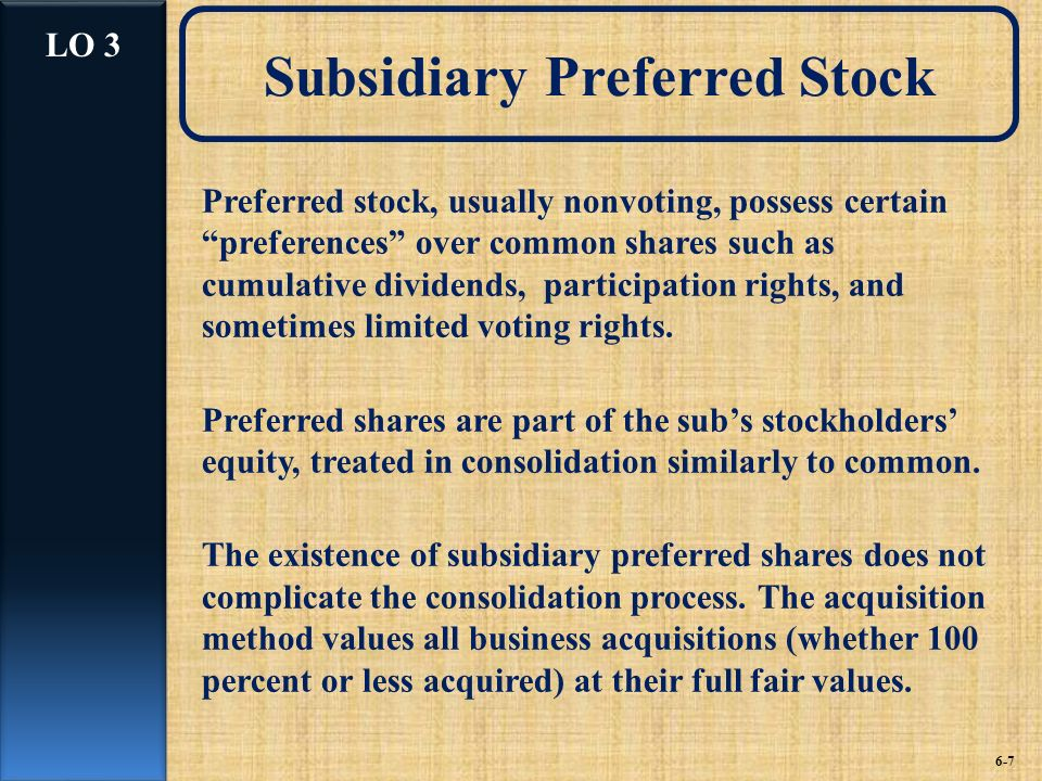 Subsidiary Preferred Stock