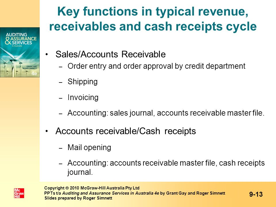 Key functions in typical revenue, receivables and cash receipts cycle