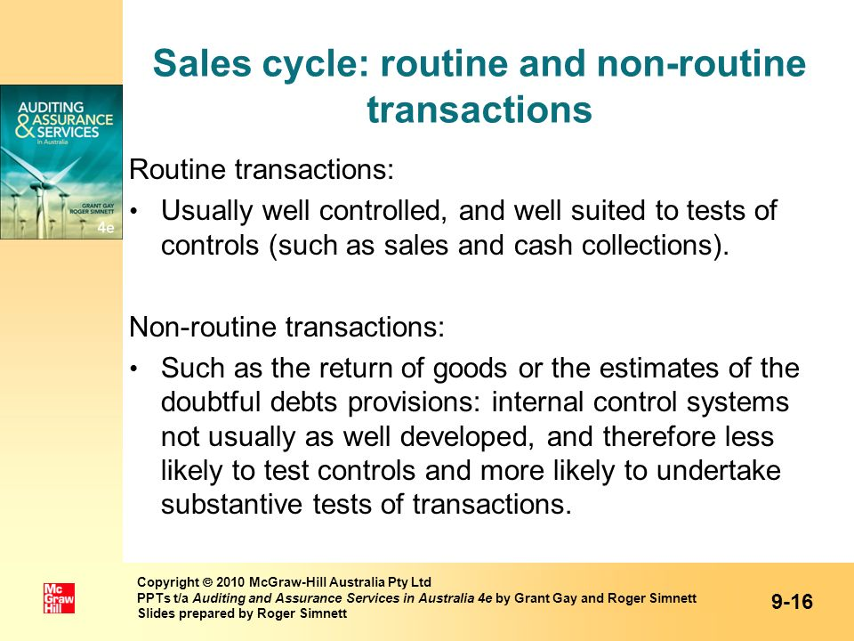 Sales cycle: routine and non-routine transactions