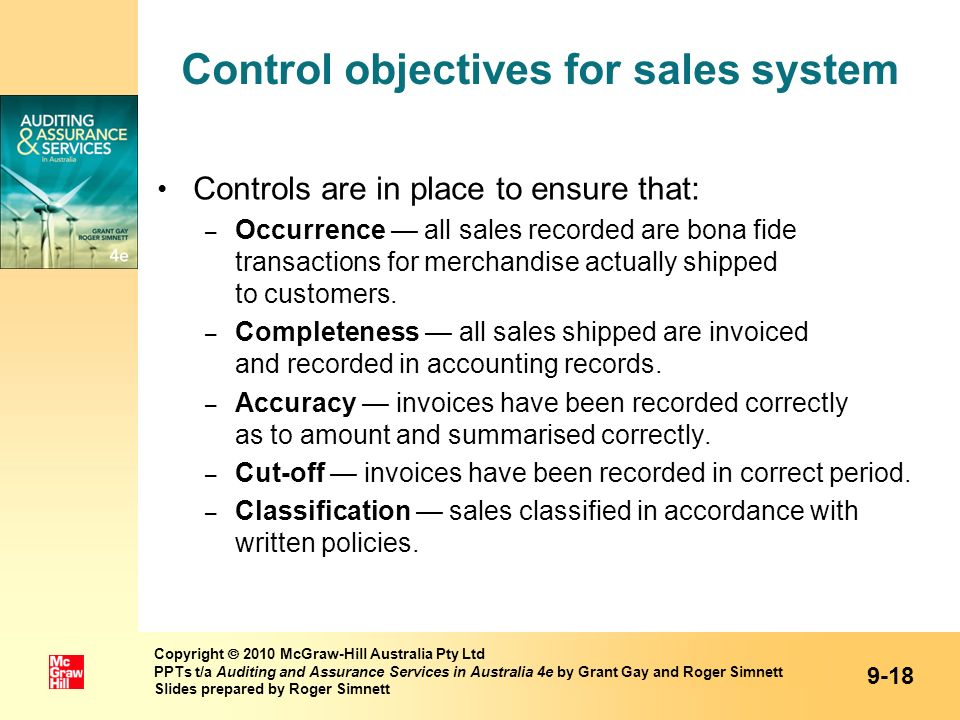 Control objectives for sales system