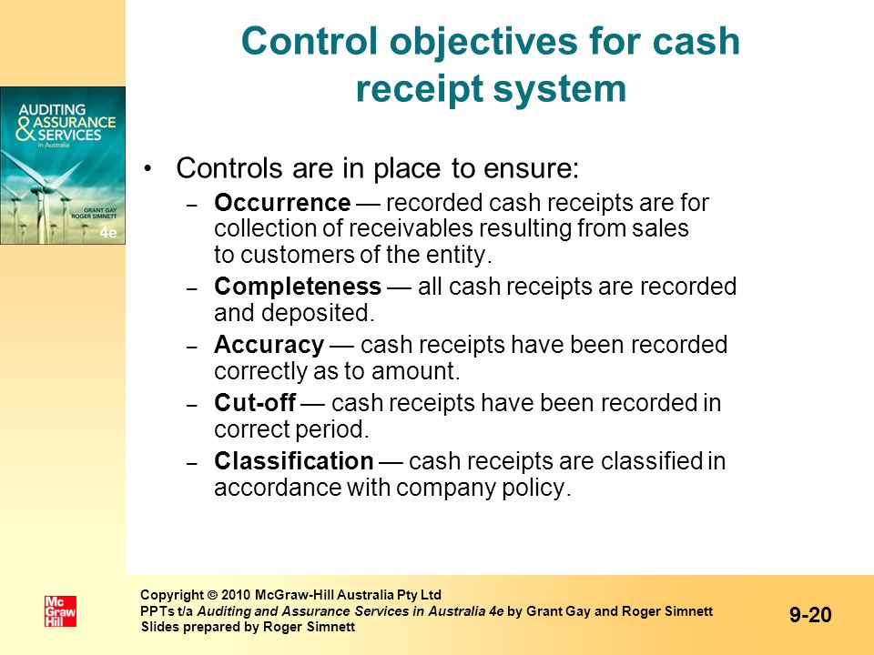 Control objectives for cash receipt system