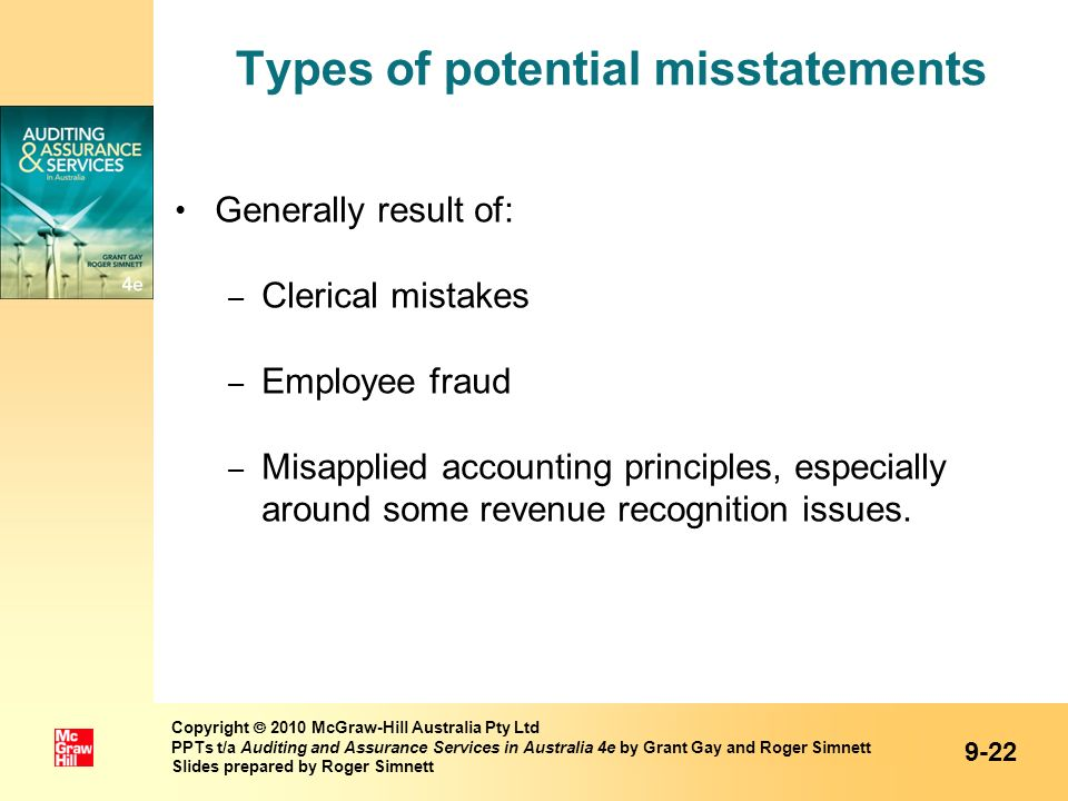 Types of potential misstatements