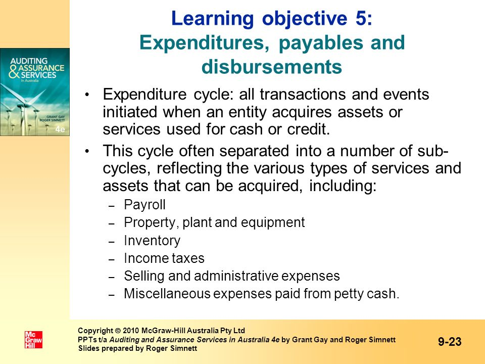 Learning objective 5: Expenditures, payables and disbursements