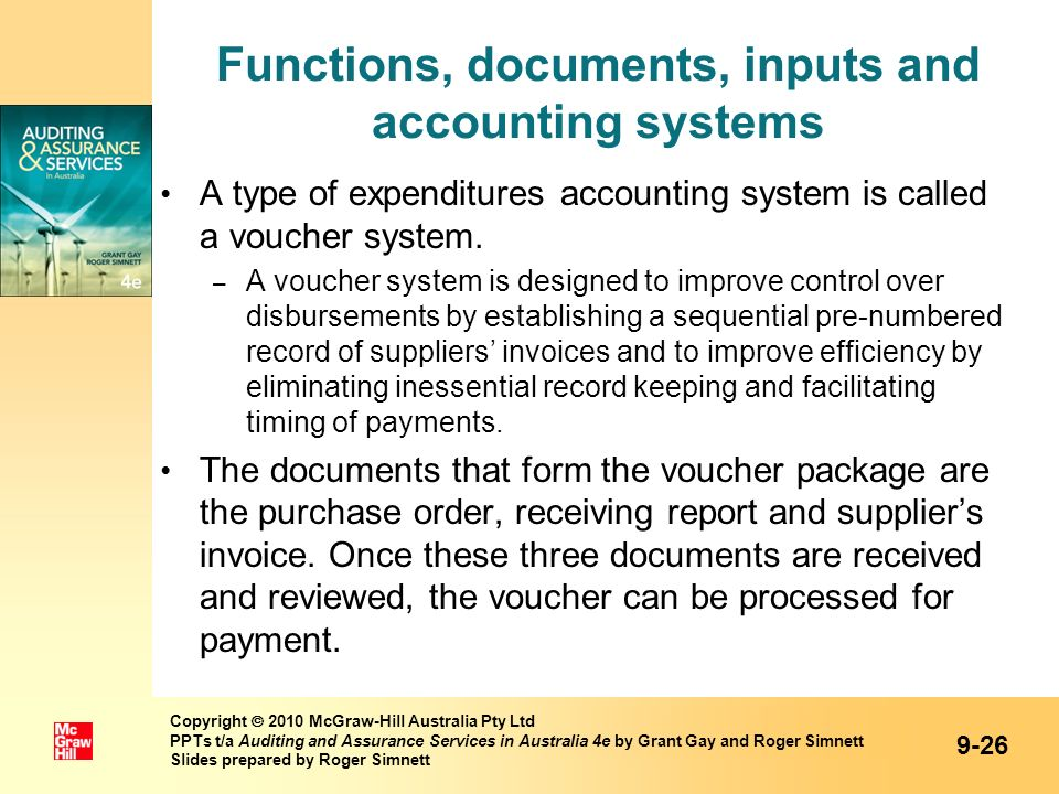 Functions, documents, inputs and accounting systems