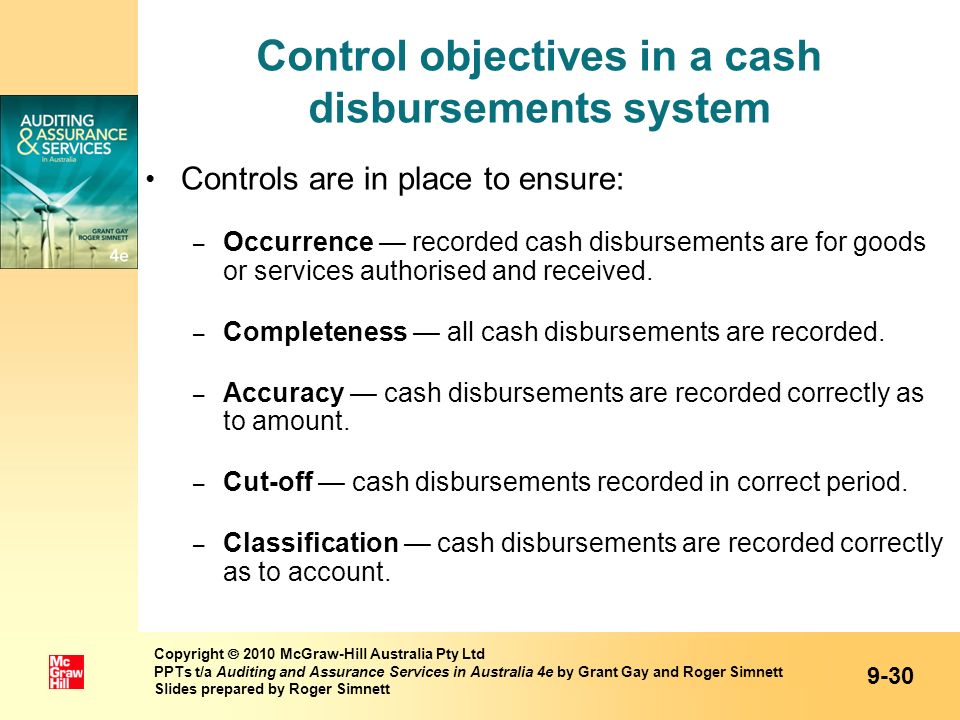 Control objectives in a cash disbursements system