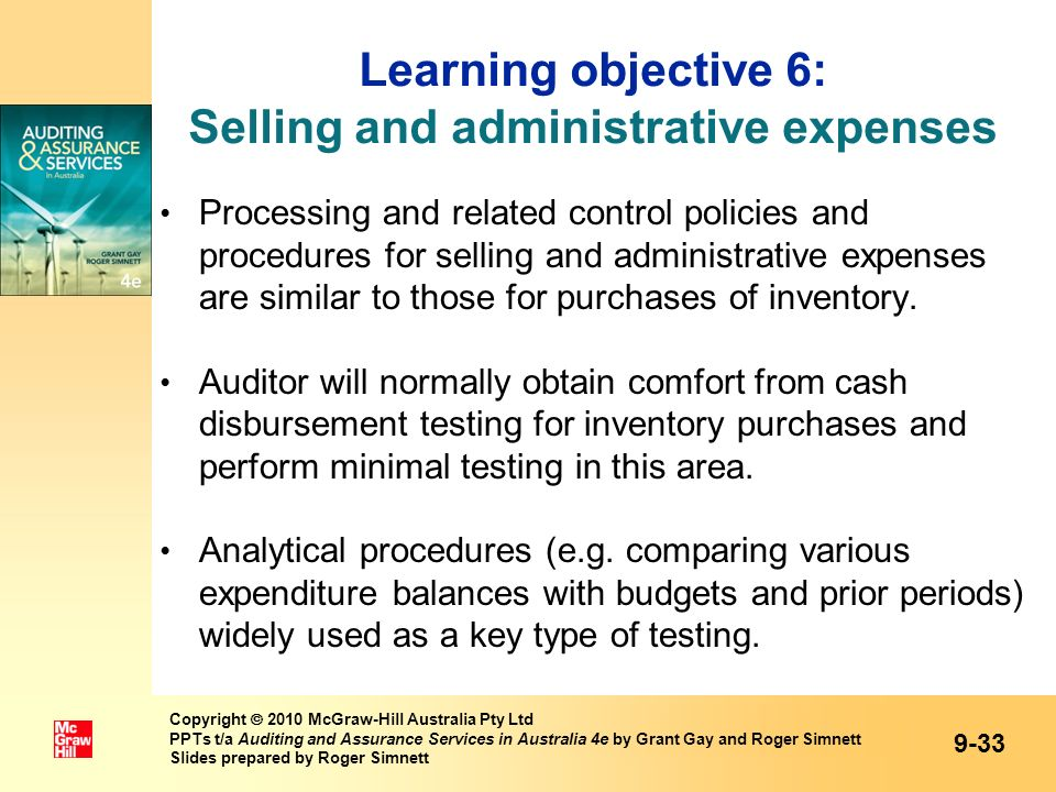 Learning objective 6: Selling and administrative expenses