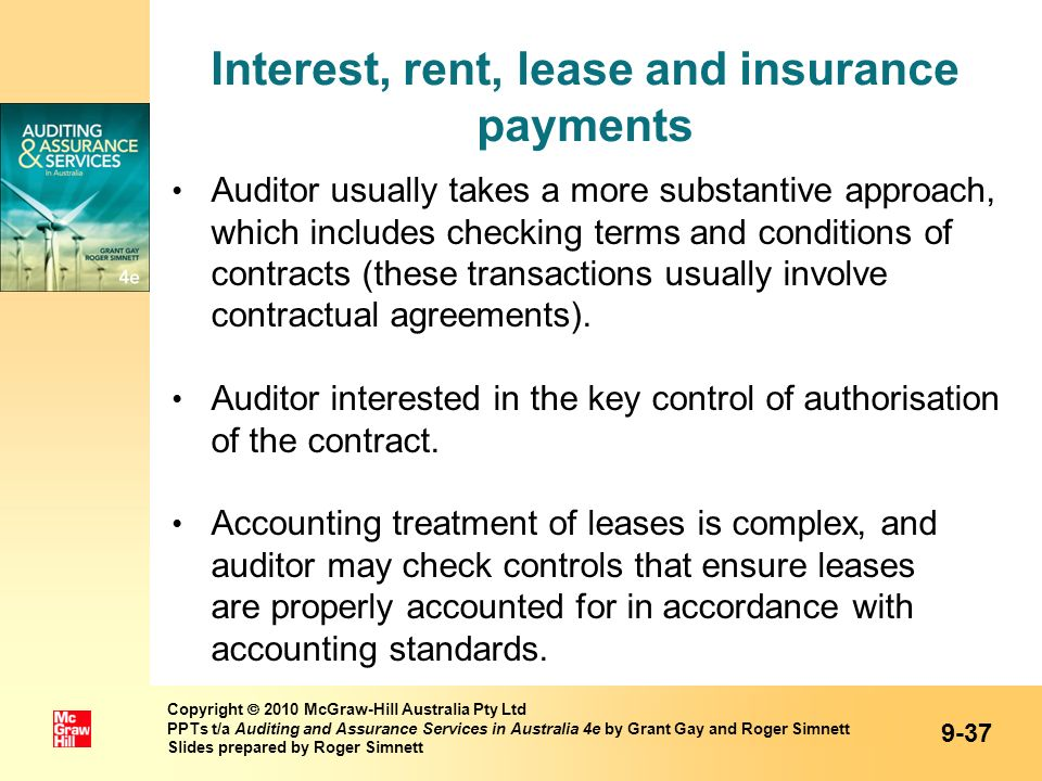 Interest, rent, lease and insurance payments