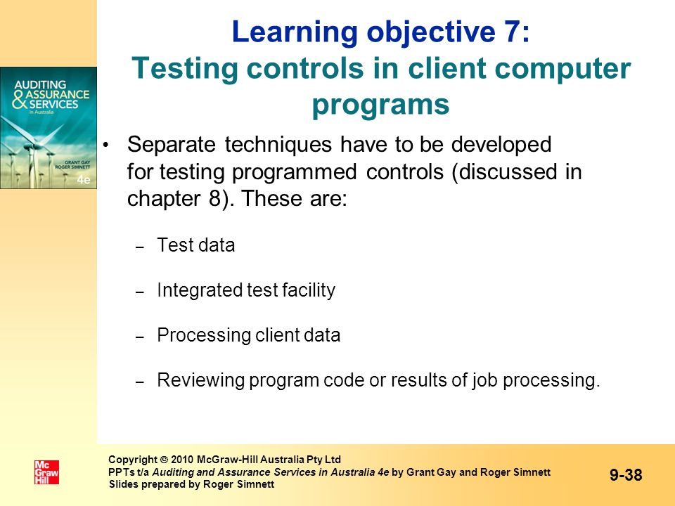 Learning objective 7: Testing controls in client computer programs