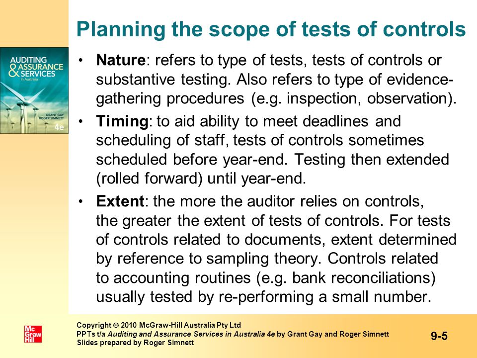 Planning the scope of tests of controls