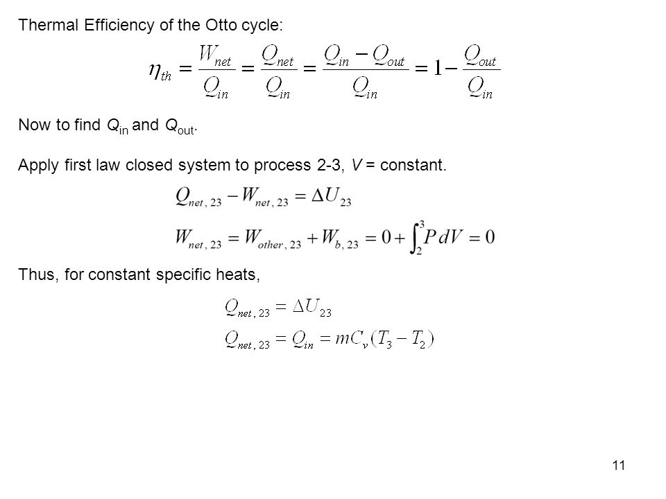 Thermal Efficiency of the Otto cycle: