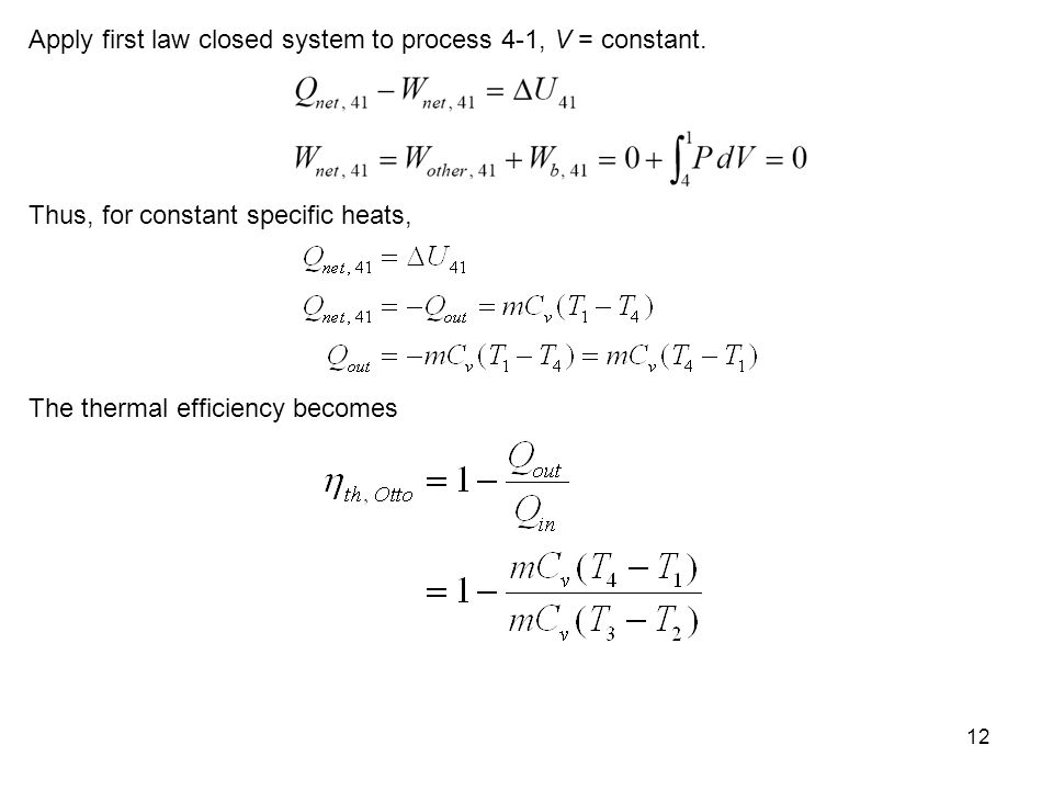 Apply first law closed system to process 4-1, V = constant.